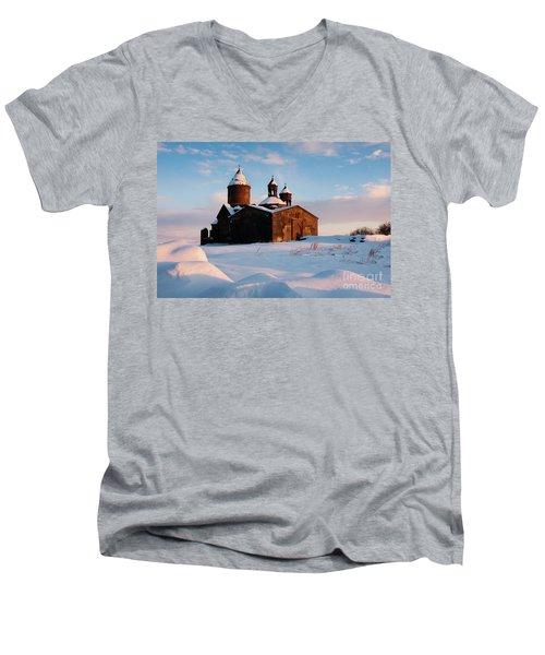 Medieval Saghmosavank Monastery Covered By Snow At Sunset, Armenia Men's V-Neck T-Shirt by Gurgen Bakhshetsyan