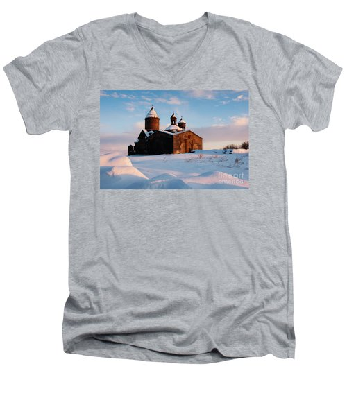 Medieval Saghmosavank Monastery Covered By Snow At Sunset, Armenia Men's V-Neck T-Shirt