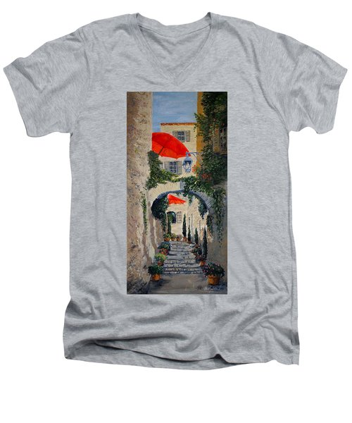 Men's V-Neck T-Shirt featuring the painting Medieval Steps At St Paul De Vence by Marilyn Zalatan