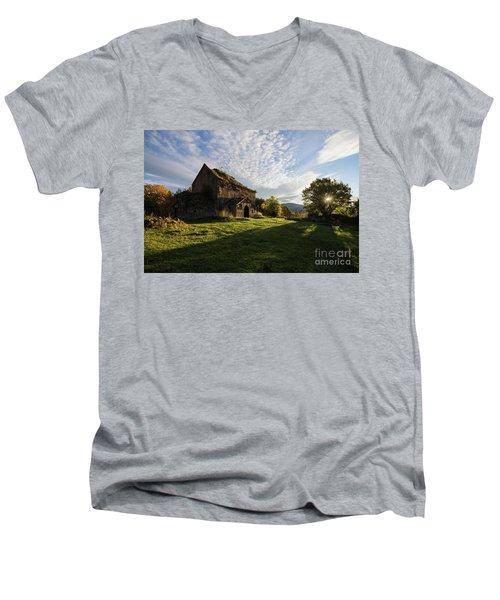 Medieval Tezharuyk Monastery During Amazing Sunrise, Armenia Men's V-Neck T-Shirt by Gurgen Bakhshetsyan