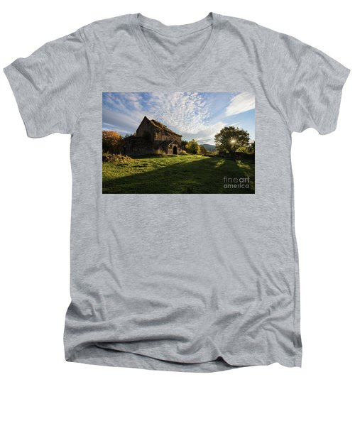 Medieval Tezharuyk Monastery During Amazing Sunrise, Armenia Men's V-Neck T-Shirt