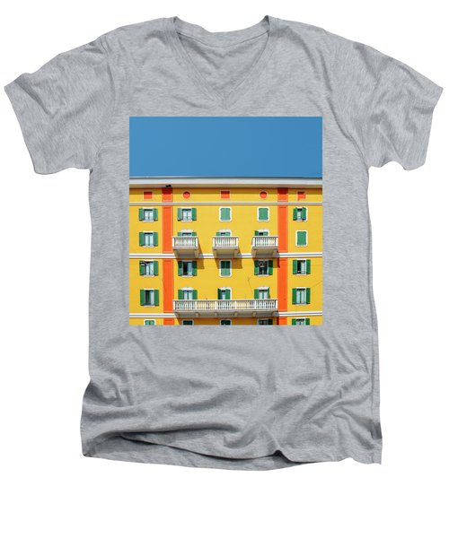 Mediterranean Colours On Building Facade Men's V-Neck T-Shirt