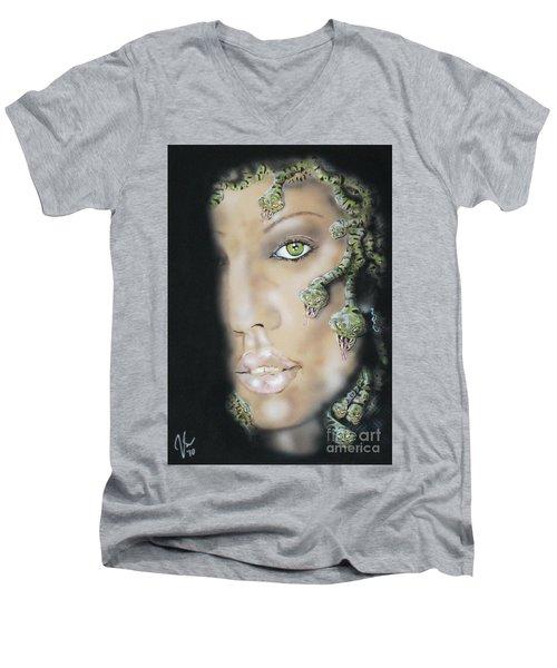 Medusa Men's V-Neck T-Shirt by John Sodja