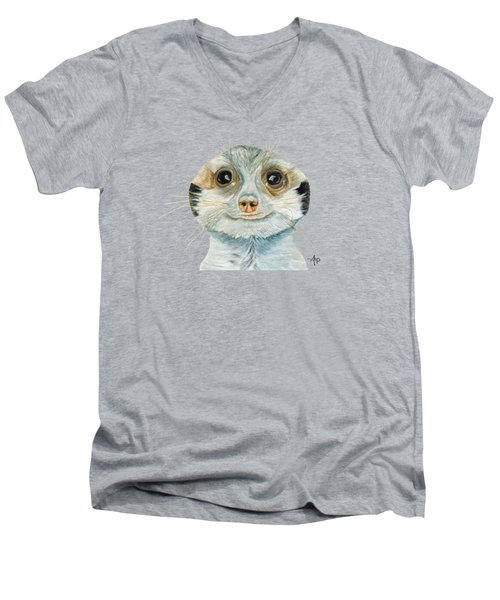 Meerkat Men's V-Neck T-Shirt by Angeles M Pomata