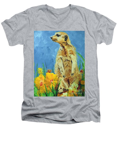 Men's V-Neck T-Shirt featuring the painting Meerly Curious by Tom Riggs