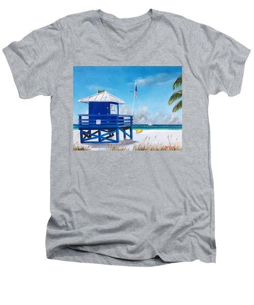 Meet At Blue Lifeguard Men's V-Neck T-Shirt