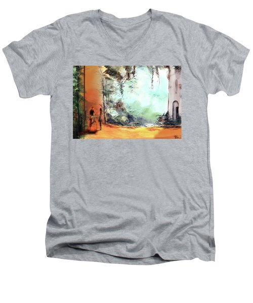 Men's V-Neck T-Shirt featuring the painting Meeting On A Date by Anil Nene