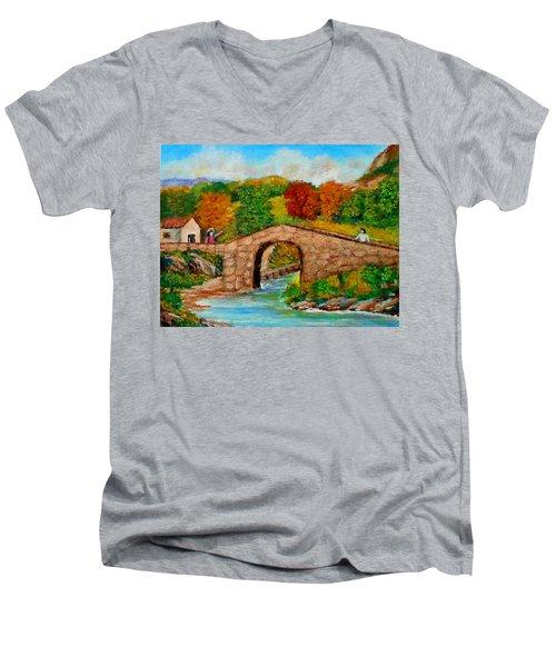 Meeting On The Old Bridge Men's V-Neck T-Shirt