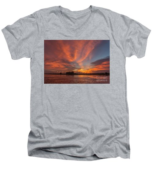 Men's V-Neck T-Shirt featuring the photograph Mekong Sunset 3 by Werner Padarin