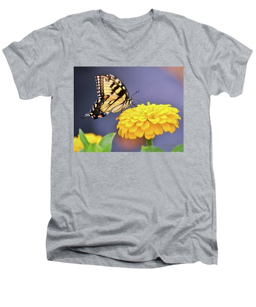 Mellow Yellow Men's V-Neck T-Shirt by Kathy Kelly