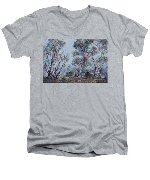 Men's V-Neck T-Shirt featuring the painting Melrose, South Australia by Ryn Shell