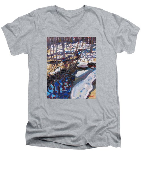 Melt Water And Ice At The Forest Edge Men's V-Neck T-Shirt