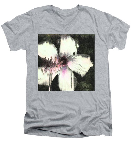 Melting Hibiscus Men's V-Neck T-Shirt by Stan  Magnan