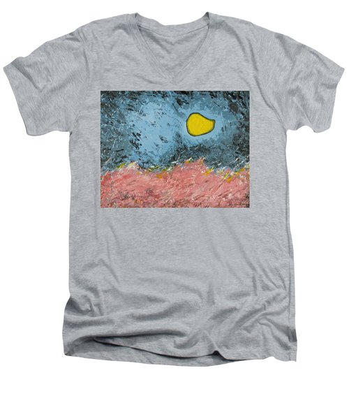 Men's V-Neck T-Shirt featuring the painting Melting Moon Over Drifting Sand Dunes by Ben Gertsberg