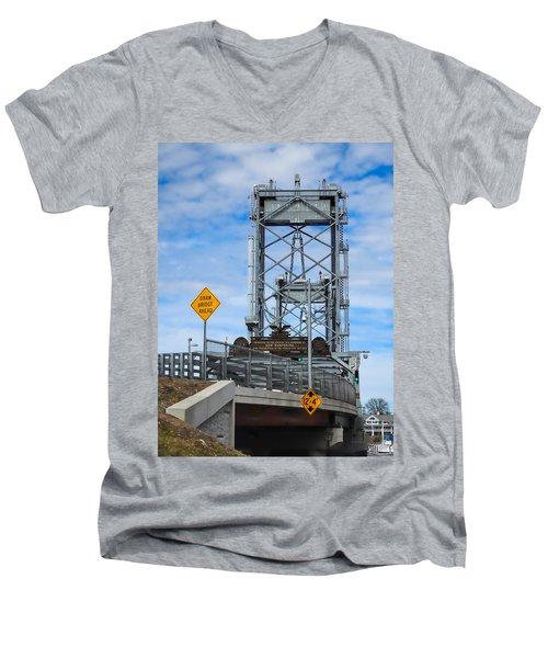 Memorial Bridge Portsmouth  Nh Men's V-Neck T-Shirt