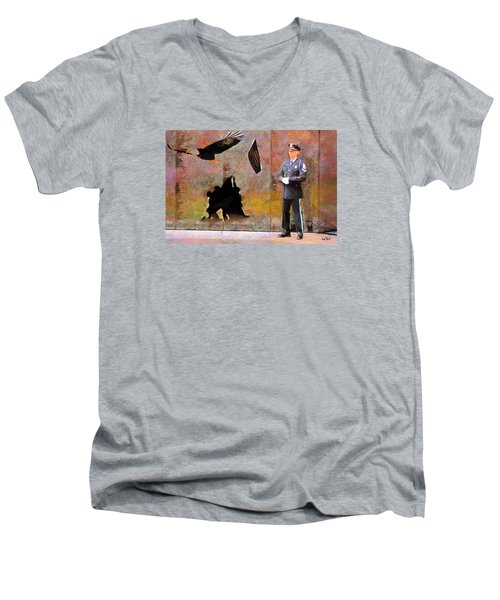 Men's V-Neck T-Shirt featuring the painting Memorial by Wayne Pascall