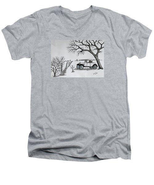 Men's V-Neck T-Shirt featuring the drawing Memories For Sale by Jack G Brauer