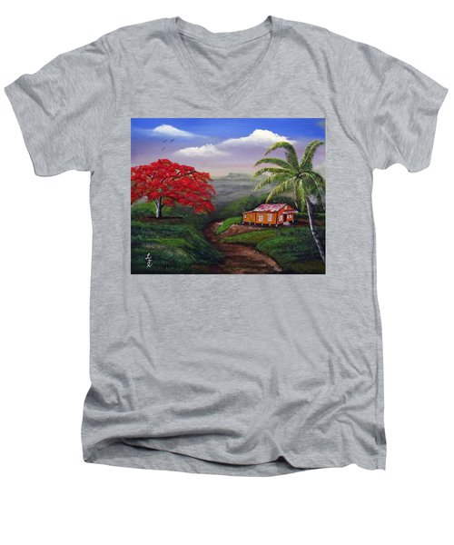 Memories Of My Island Men's V-Neck T-Shirt by Luis F Rodriguez