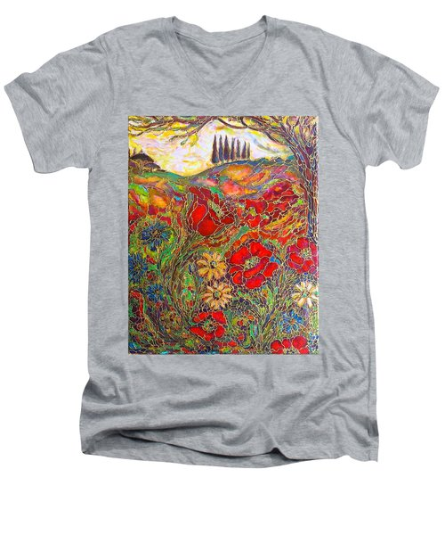 Men's V-Neck T-Shirt featuring the painting Memories Of Tuscany by Rae Chichilnitsky