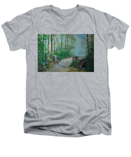 Men's V-Neck T-Shirt featuring the painting Memory Bridge by Leslie Allen
