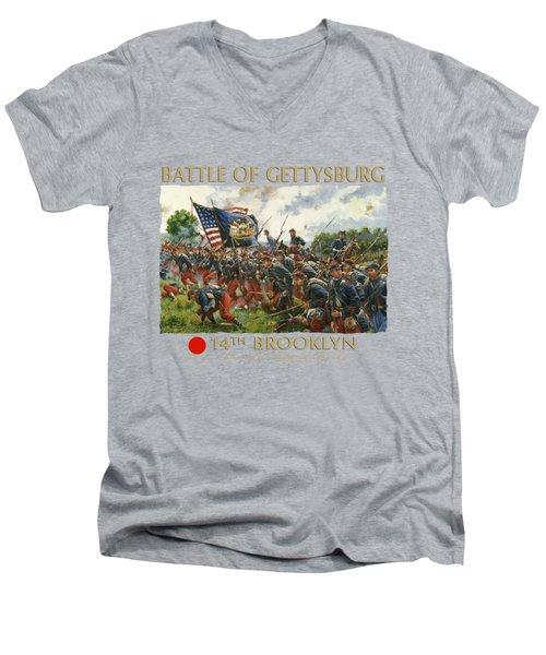 Men Of Brooklyn - The 14th Brooklyn 14th N.y.s.m. Charge On The Railrad Cut - Battle Of Gettysburg Men's V-Neck T-Shirt