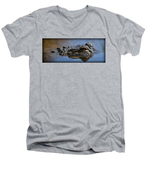 Menacing Alligator Men's V-Neck T-Shirt