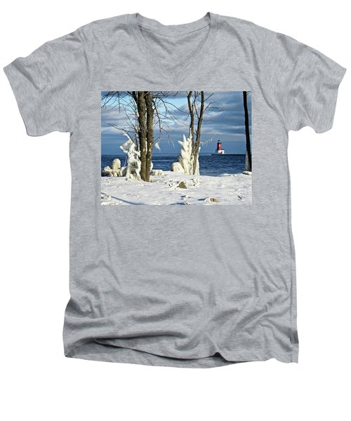 Menominee Lighthouse Ice Sculptures Men's V-Neck T-Shirt