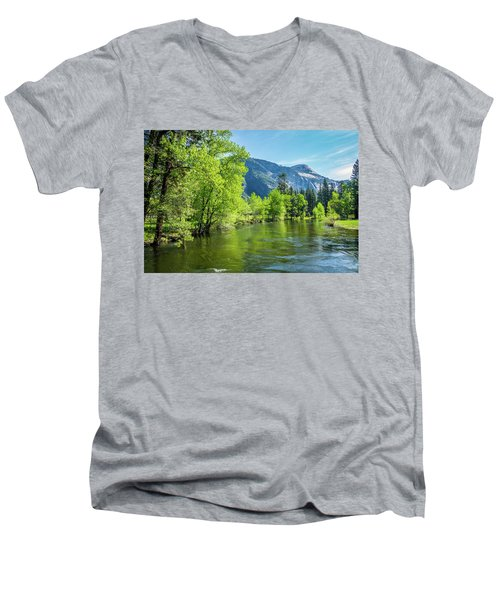 Merced River In Yosemite Valley Men's V-Neck T-Shirt
