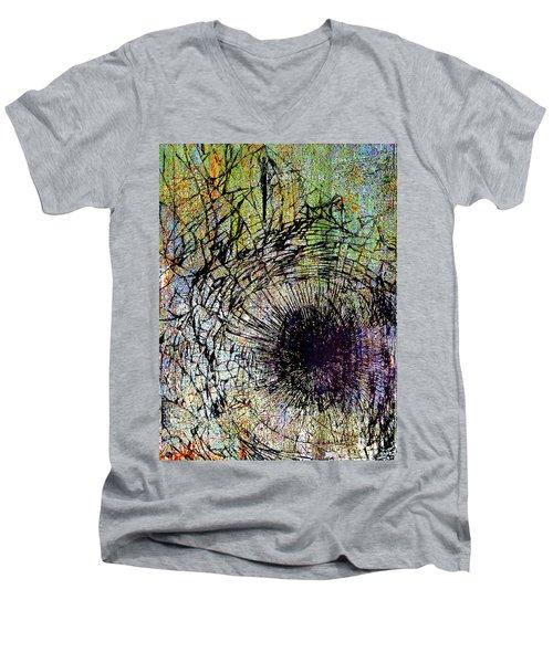 Men's V-Neck T-Shirt featuring the mixed media Mercy by Tony Rubino