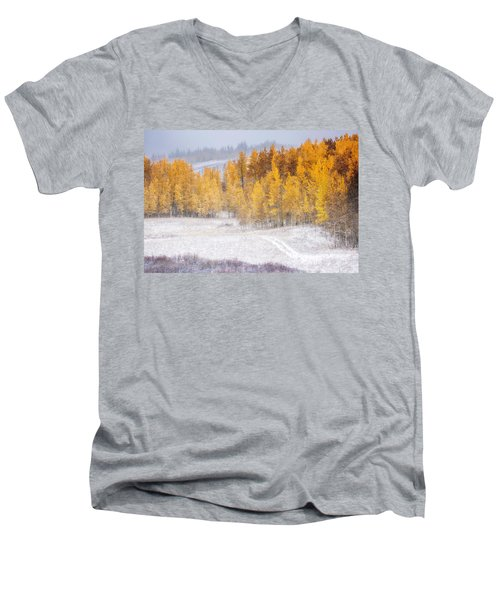 Merging Seasons Men's V-Neck T-Shirt by Kristal Kraft