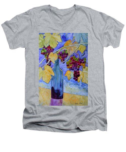 Merlot Men's V-Neck T-Shirt by Nancy Jolley