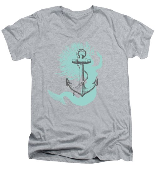 Mermaid And Anchor Men's V-Neck T-Shirt by Sandra McGinley