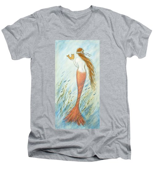 Mermaid And Her Catfish, Goldie Men's V-Neck T-Shirt by Tina Obrien
