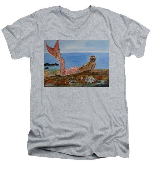 Mermaid Beauty Men's V-Neck T-Shirt by Leslie Allen
