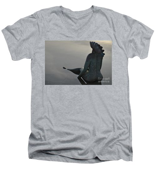 Mermaid Bronze Statue In The Faro Marina Men's V-Neck T-Shirt