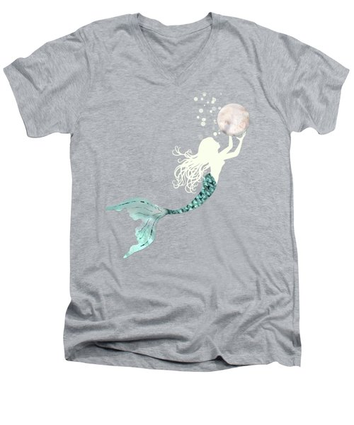 Mermaid Gathering Pearls Creamy White Siren Holds A Huge Pearl Men's V-Neck T-Shirt