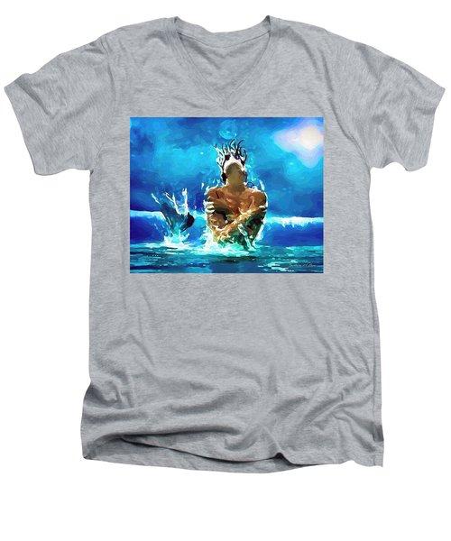 Mermaid Under The Moonlight Men's V-Neck T-Shirt