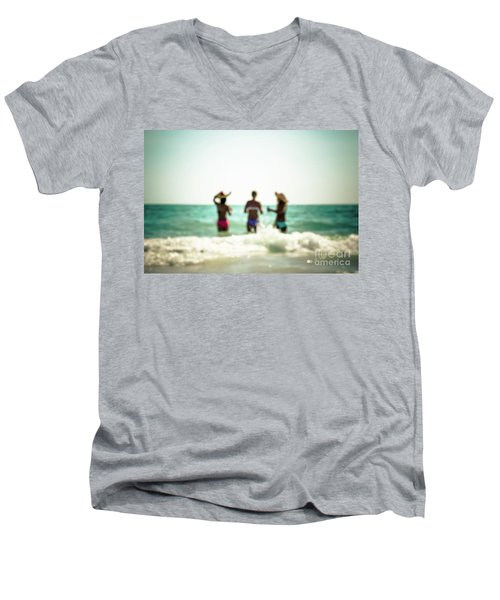 Men's V-Neck T-Shirt featuring the photograph Mermaids by Hannes Cmarits