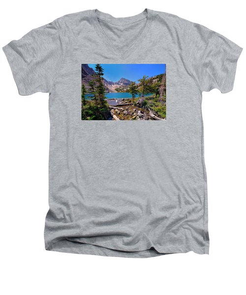 Merriam Lake Men's V-Neck T-Shirt by Greg Norrell