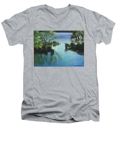 Merrimack River At Sunset Men's V-Neck T-Shirt