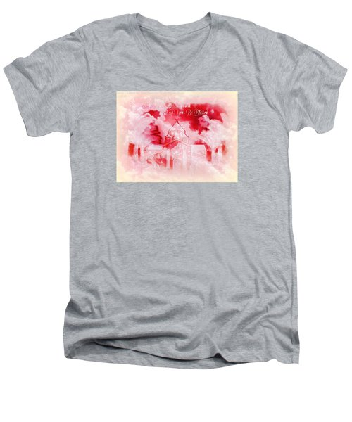 Men's V-Neck T-Shirt featuring the digital art Merry Christmas And A Blessed New by Sherri Of Palm Springs