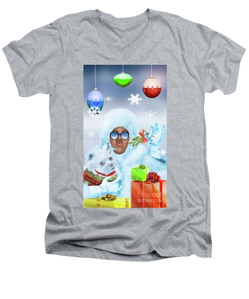 Merry Christmas And Kisses Men's V-Neck T-Shirt