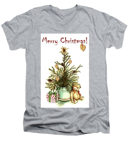 Men's V-Neck T-Shirt featuring the painting Merry Christmas by Heidi Kriel