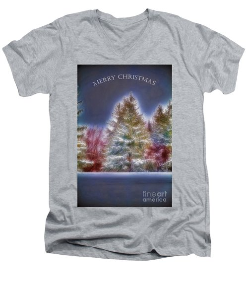 Men's V-Neck T-Shirt featuring the photograph Merry Christmas by Jim Lepard