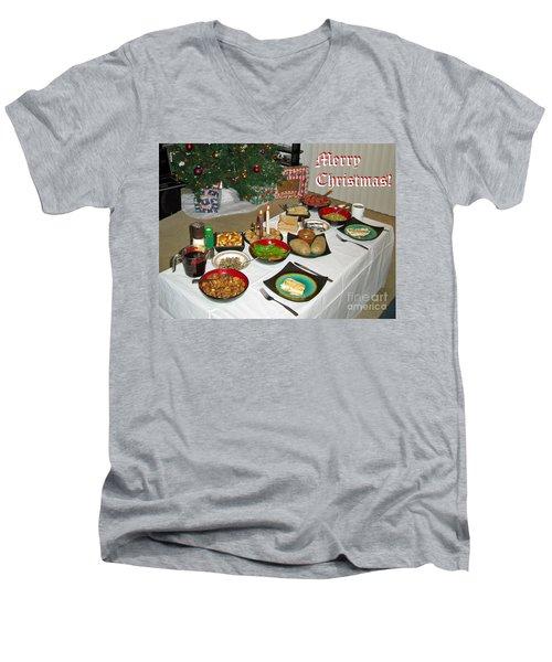 Merry Christmas- Traditional Lithuanian Christmas Eve Dinner Men's V-Neck T-Shirt by Ausra Huntington nee Paulauskaite