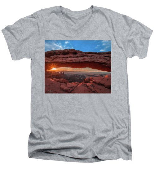 Men's V-Neck T-Shirt featuring the photograph Mesa Arch At Sunrise 3, Canyonlands National Park, Utah by Tim Kathka