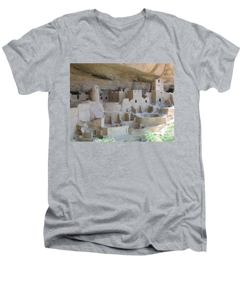 Men's V-Neck T-Shirt featuring the digital art Mesa Verde Community by Gary Baird