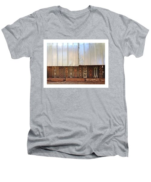 Metal And Ironwork With White Border Men's V-Neck T-Shirt