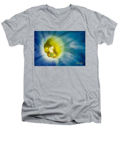 Metallic Green Bee In Blue Morning Glory Men's V-Neck T-Shirt