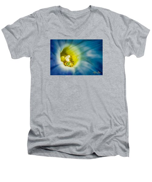 Metallic Green Bee In Blue Morning Glory Men's V-Neck T-Shirt